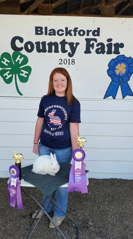 Zoey Osborn, Grand Champion, Blackford County Fair, IN