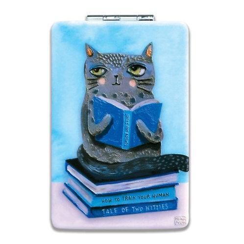 Cat Books Compact Mirror