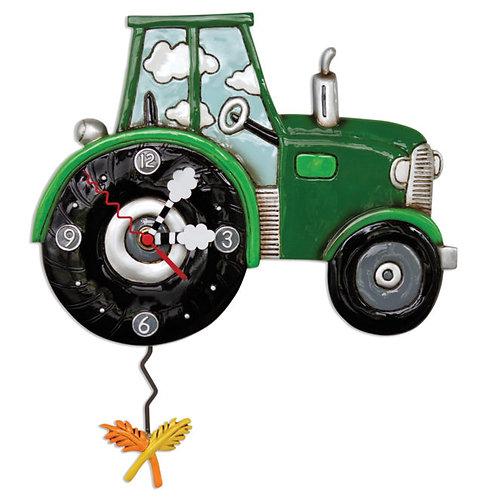 Green Tractor Time Pendulum Clock