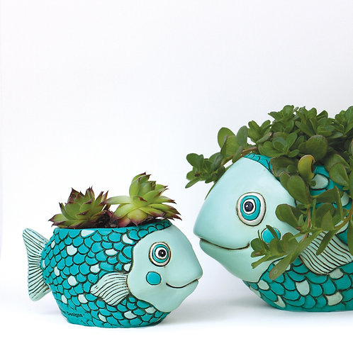 Teal Fish Planter