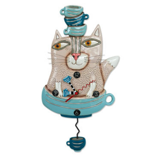 Tea Cat Pendulum Clock