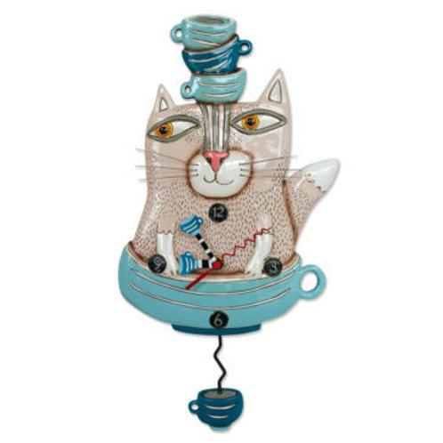 Tea Cat Pendulum Clock
