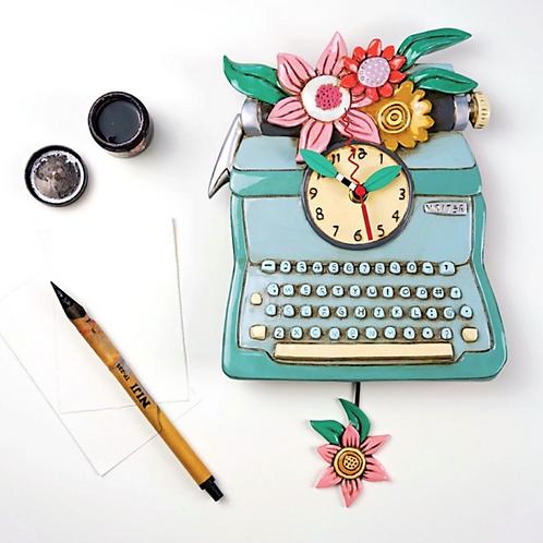Blue Typewriter Pendulum Clock