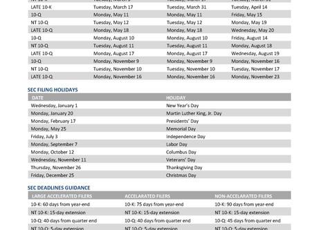 Desk Reference: 2020 SEC Filing Deadlines