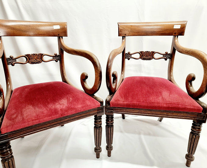 Victorian Carva/Elbow Mahogany Pair of Chairs