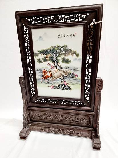 Porcelain Hand Painted Horse Image Chinese Screen