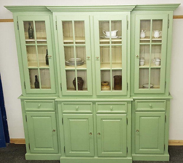 20th Century Breakfront Bookcase Painted Green