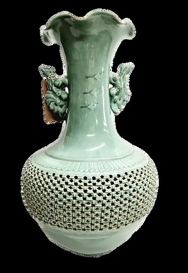 Oriental turquoise pierced vase