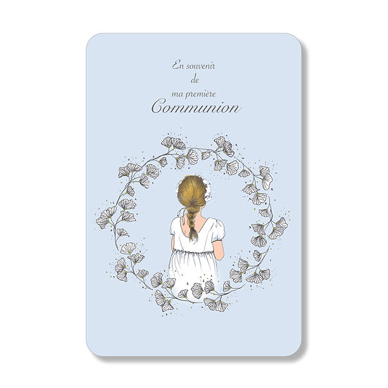 20 cartes personnalisables petite fille à la tresse bleue