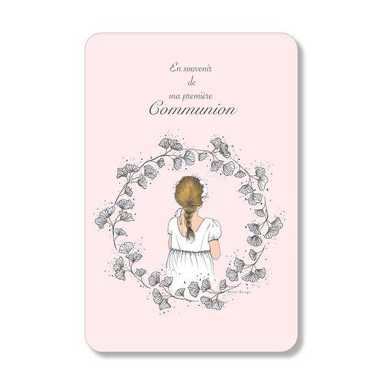 20 cartes personnalisables petite fille à la tresse rose