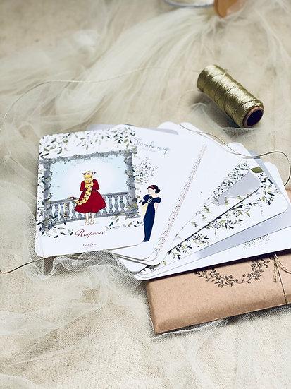 Pochette des 16 cartes de contes illustrés