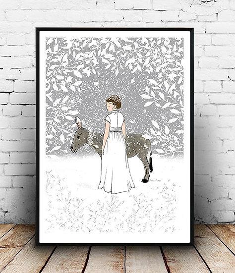 Affiche âne et jeune fille