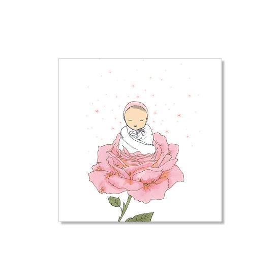 Faire-part naissance d'une petite rose