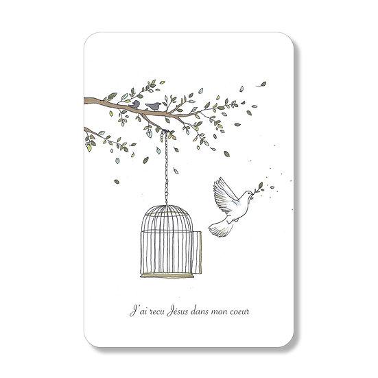 """20 cartes première Communion """"envol de colombe""""( personnalisable)"""