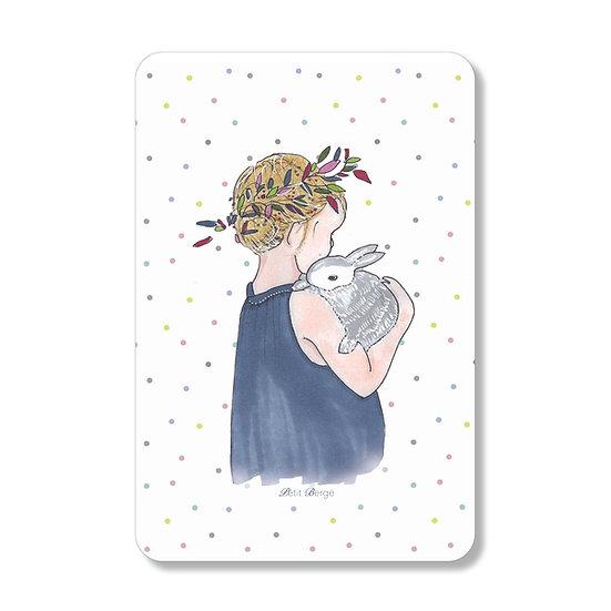 Carte Petite fille au lapin