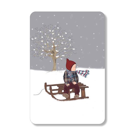Carte luge de Noël