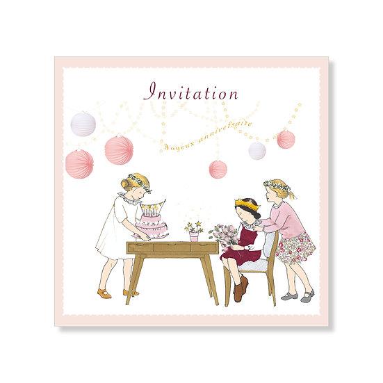 5 cartes invitations d'anniversaire fille avec enveloppes