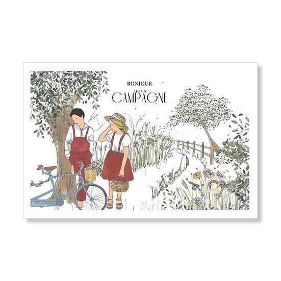 """Carte postale """"bonjour de la campagne"""""""