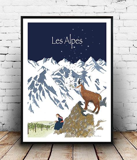 Affiche les Alpes