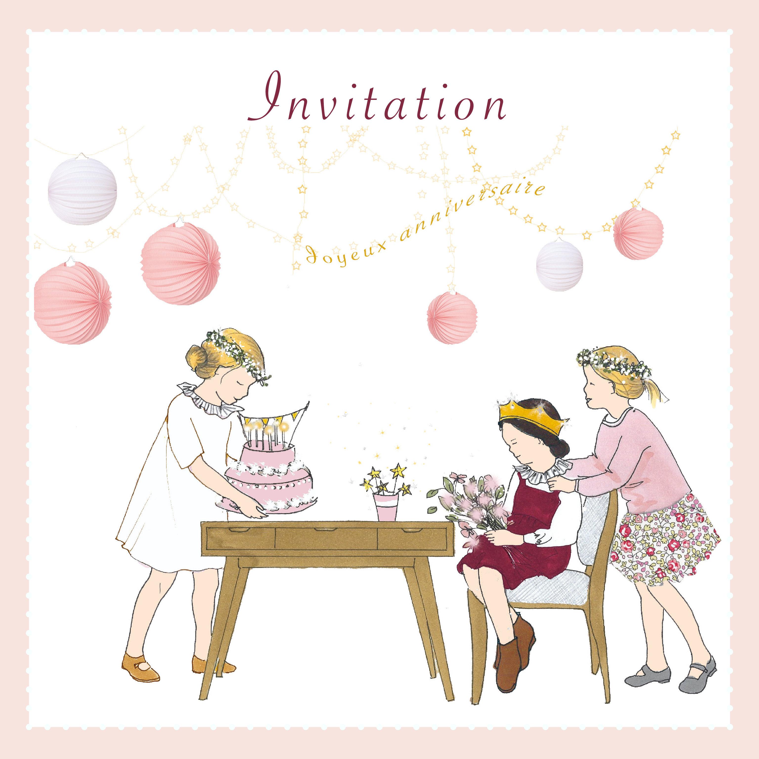5 cartes invitations d'anniversaire fille avec enveloppes   petitberge