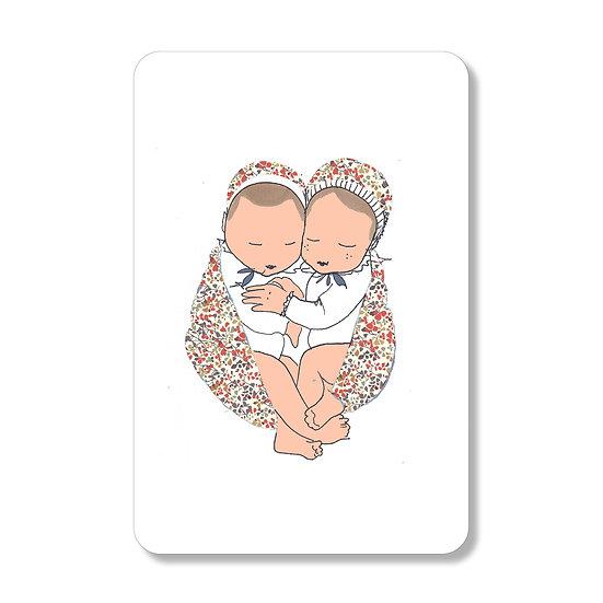 Carte coeur de jumeaux