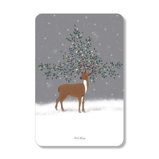 Carte cerf de Noël