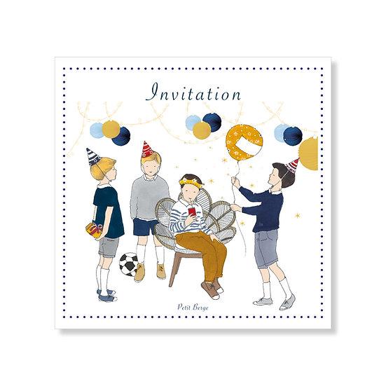 Carte invitation  d'anniversaire garçon avec enveloppe