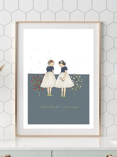 Affiche A4 Conte Rose Blanche et Rose Rouge