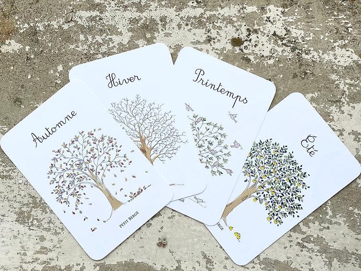 Lot des 4 cartes postales des saisons