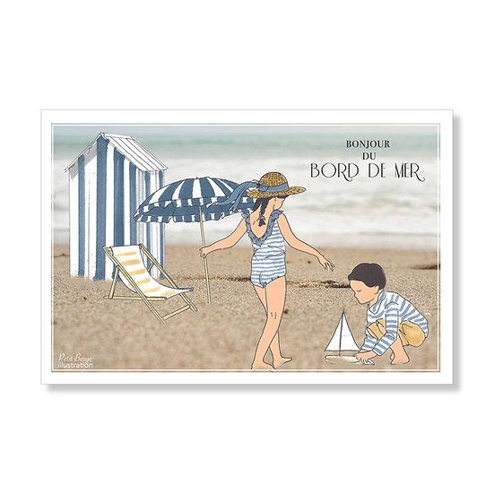 """Carte postale """"bonjour du bord de mer"""""""