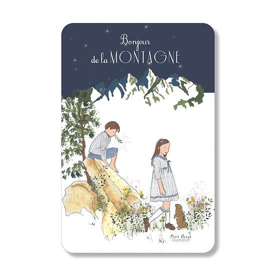 """Carte postale """"bonjour de la montagne"""""""