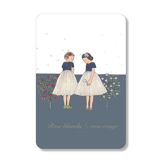 Carte Rose Blanche et Rose Rouge