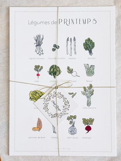 Affiches A4 des légumes de saisons