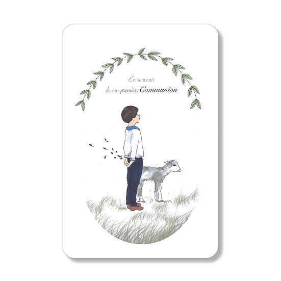 """10 Cartes première Communion """"doux agneau"""" ( personnalisable)"""