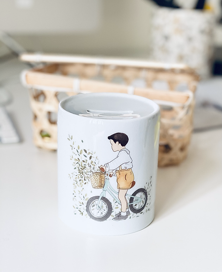 Tirelire garçon à vélo