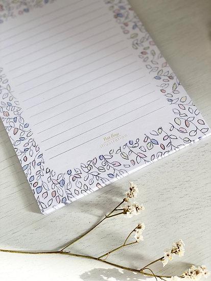 Papier à lettres feuillage