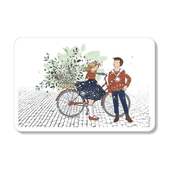 Carte automne à bicyclette