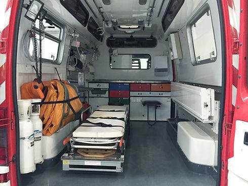 All'interno di un'ambulanza