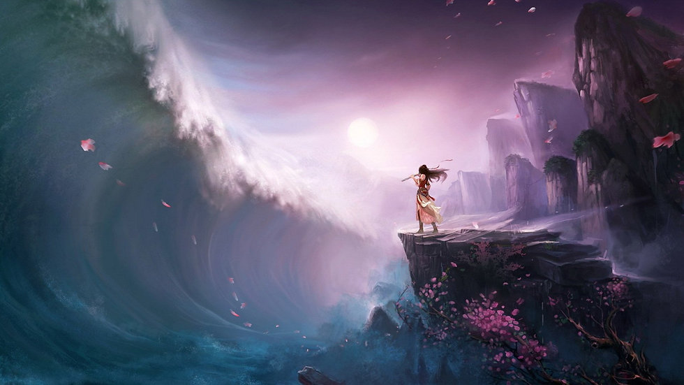 1016719-girl-wave-tsunami-art-flute-rock
