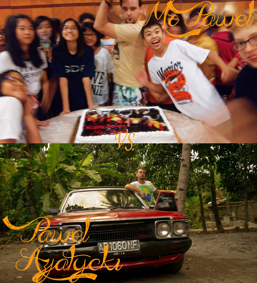 Na powyższym zdjęciu ja skupiony na krojeniu mojego torta urodzinowego i moi wspaniali uczniowie. Na poniższym zdjęciu Pawel Azjatycki i legendarna Toyota Corona.