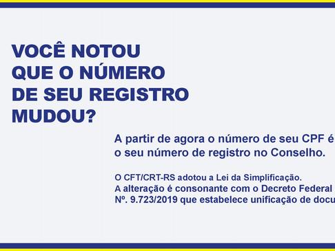 Comunicado: Número do documento de Registro Profissional agora é o número do CPF