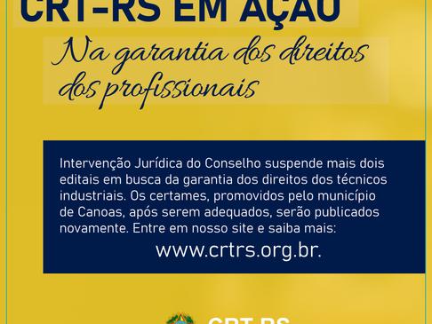 CRT-RS intervém em dois editais em Canoas à favor dos Técnicos Industriais