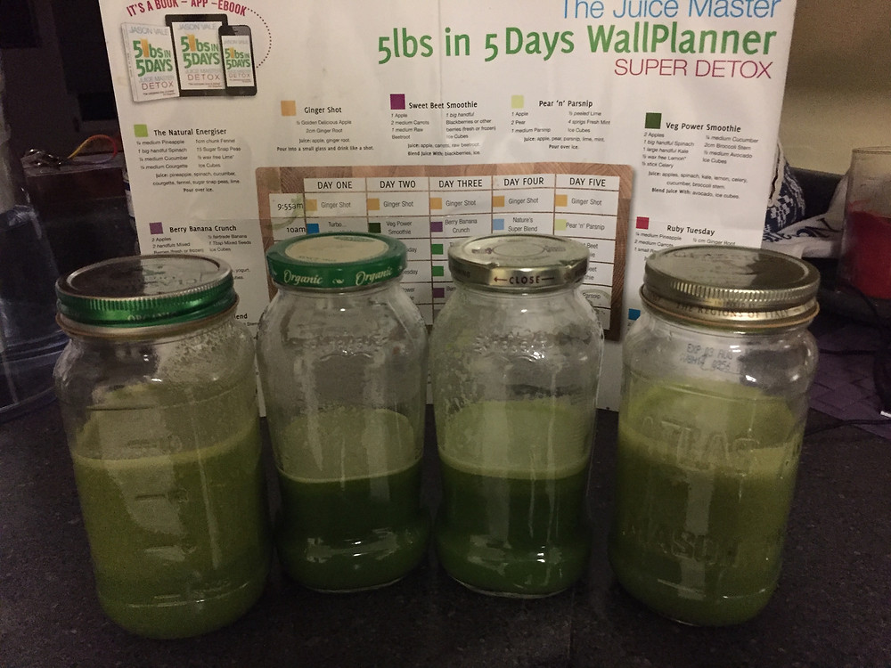 Day 1 | Juices include: apples, pineapple, spinach, lime, celery, cucumber, ginger, avocado, zucchini, fennel, snap peas
