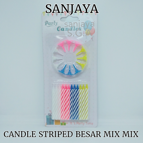 CANDLE STRIPED BESAR MIX