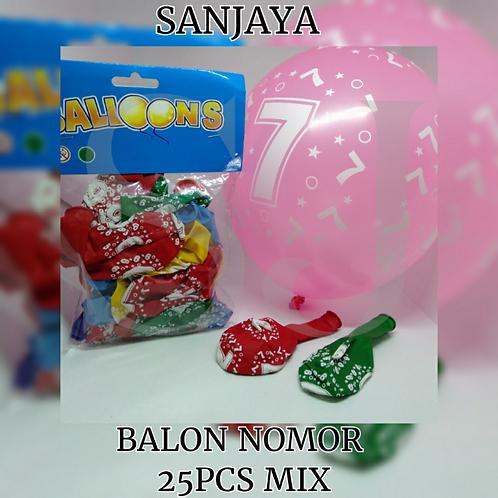 BALON NOMOR 25PCS