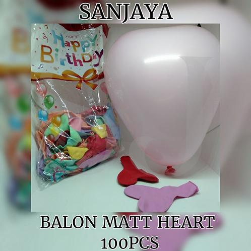 BALON MATT HEART 100PCS