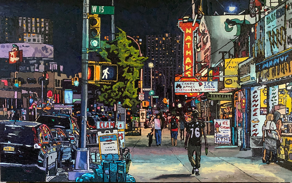 City at Night Painting by Emilie Fantuz