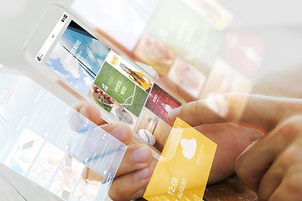 User controlling digital signage content from cell phone.