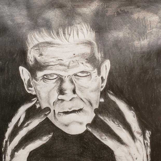 Hand Drawn Portrait of Frankenstein
