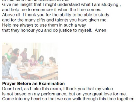Prayer before exams